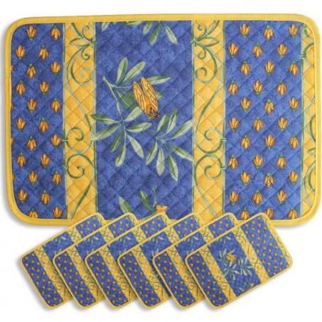 Sets de table matelassé, imprimé Cigales