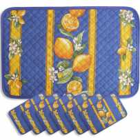 Colorful placemats quilted print Citron (x6)