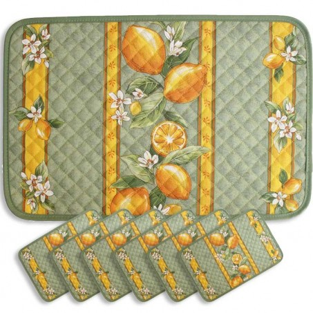 placemats print Citron green