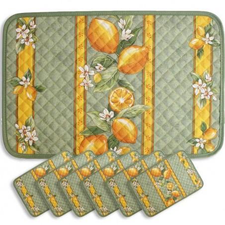 Sets de table matelassé, imprimé Citron vert