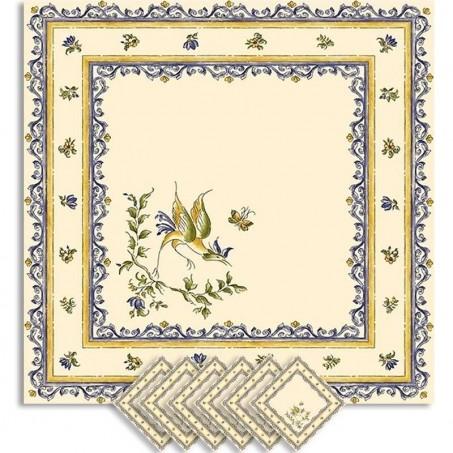 Serviettes de table carrées, imprimé Moustiers bleu