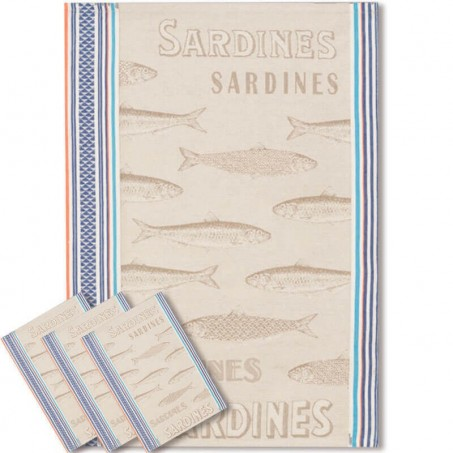 Tea towel woven Jacquard, decor Sardine