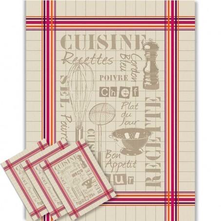 Torchons de cuisine en coton, tissé Jacquard décor Cuisine