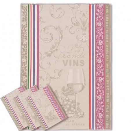 Tea Towel Kitchen Jacquard Pattern Vignoble
