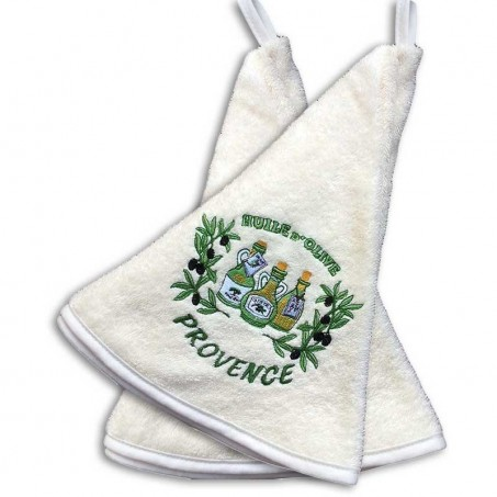 Kitchen hand towels (x2), embroidery Huile d'olive color ecru