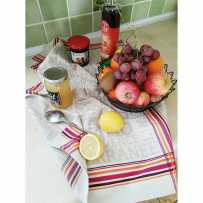 Kitchen tea towels Jacquard, Ravel motif in scene