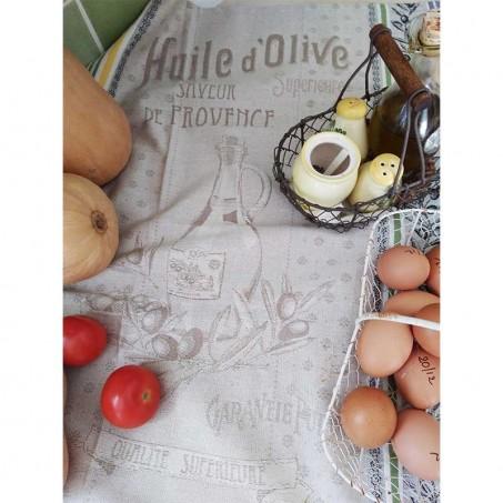 Torchons de cuisine en coton (x3), tissé Jacquard décor Picholine mis en scène 1