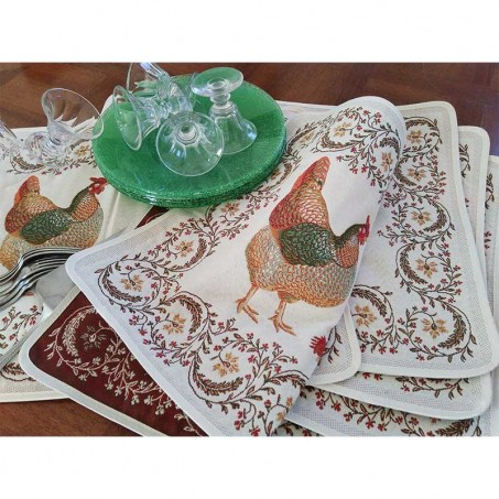 Sets de table rectangulaire, tissé Jacquard Chanteclair 1